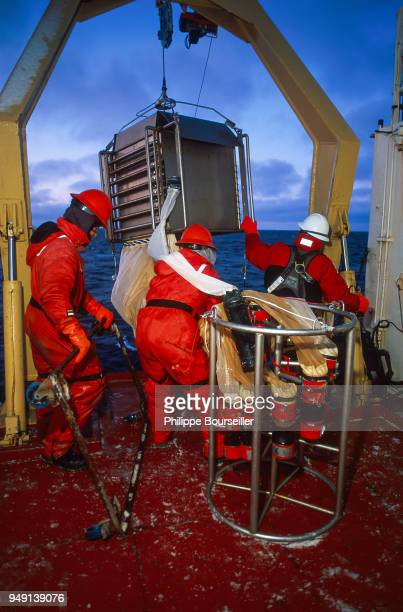 Day and night teams of scientists and biologists take turns to carry out several types of sampling at different depths In these pictures you can see...