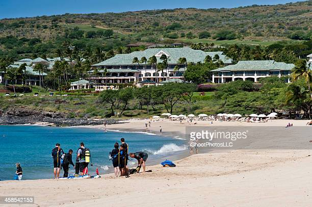 day at the beach - lanai stock photos and pictures