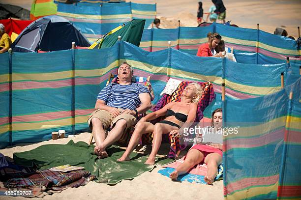day at the beach - st. ives cornwall stock pictures, royalty-free photos & images