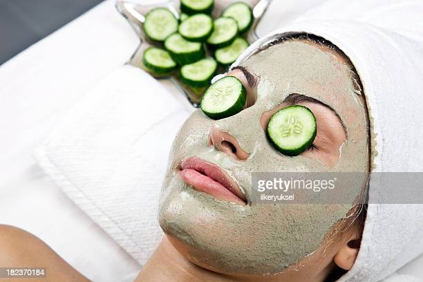 Day at the spa with relaxing facial cucumber mask