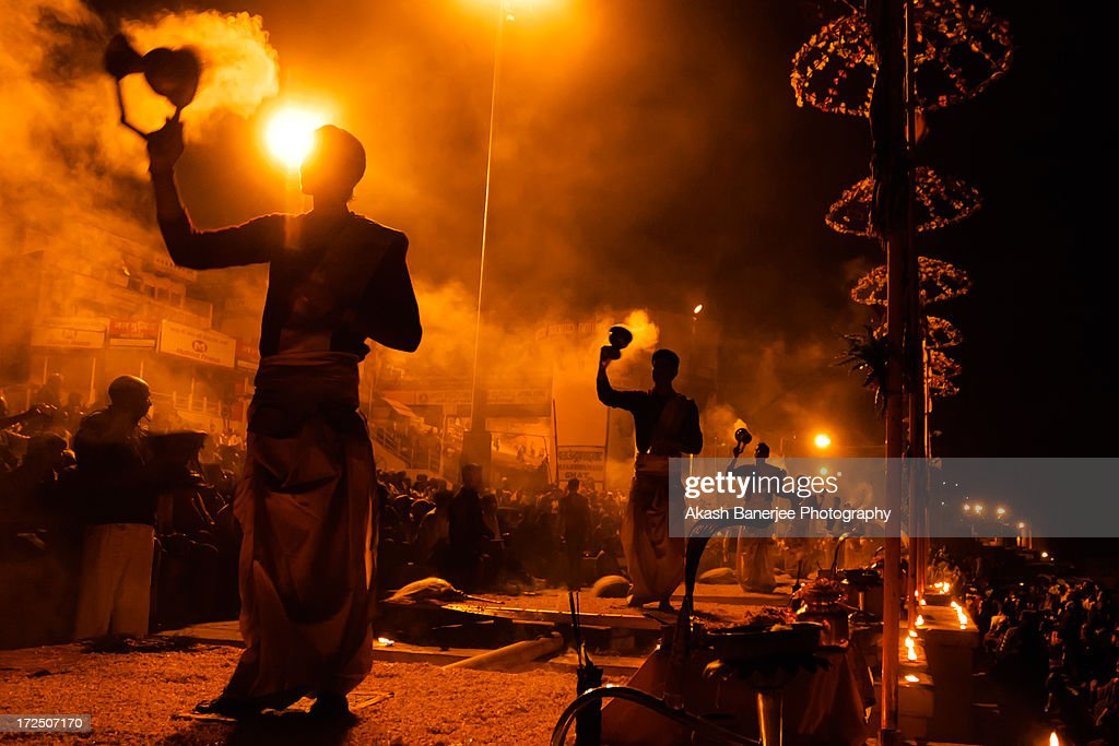 A day by the Ganga - Evening Aarti on the Ghat : Stock Photo