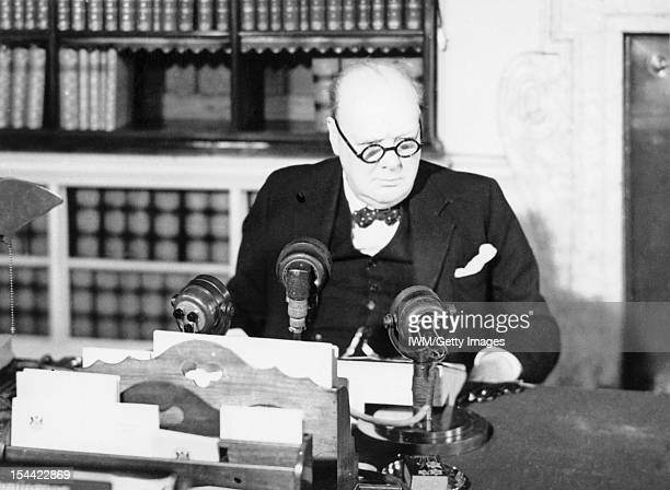 VE Day Celebrations In London 8 May 1945 The Prime Minister Winston Churchill at a BBC microphone about to broadcast to the nation on the afternoon...