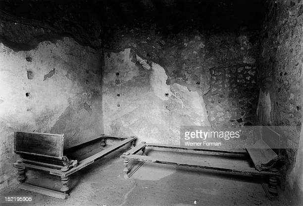 Day couches in the House of Menander They were used for sleeping dining studying and resting Italy Roman Pompeii
