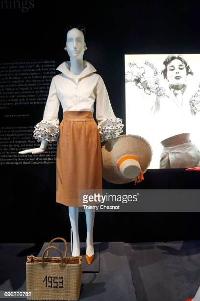 Day ensemble formed by an embroidered cotton blouse know as 'Bettina' and a linen skirt reproduction of original model is displayed during the...