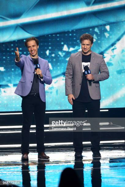 Day founders Craig Kielburger and Marc Kielburger speak onstage at WE day California at The Forum on April 19 2018 in Inglewood California