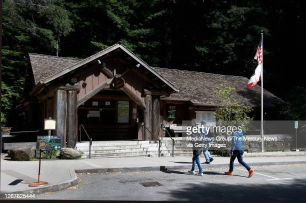 Day hikers check-in at the Big Basin Redwoods State Park headquarters on April 30 in Boulder Creek, Calif. The Headquarters Administration Building...