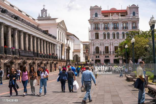 day in center of quito at plaza grande, ecuador - ecuador stock pictures, royalty-free photos & images