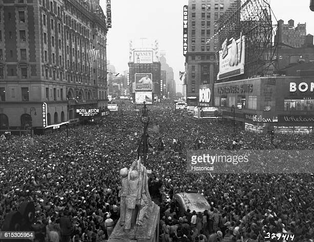 VJ Day in New York City Crowds gather in Times Square to celebrate the surrender of Japan August 15 1945