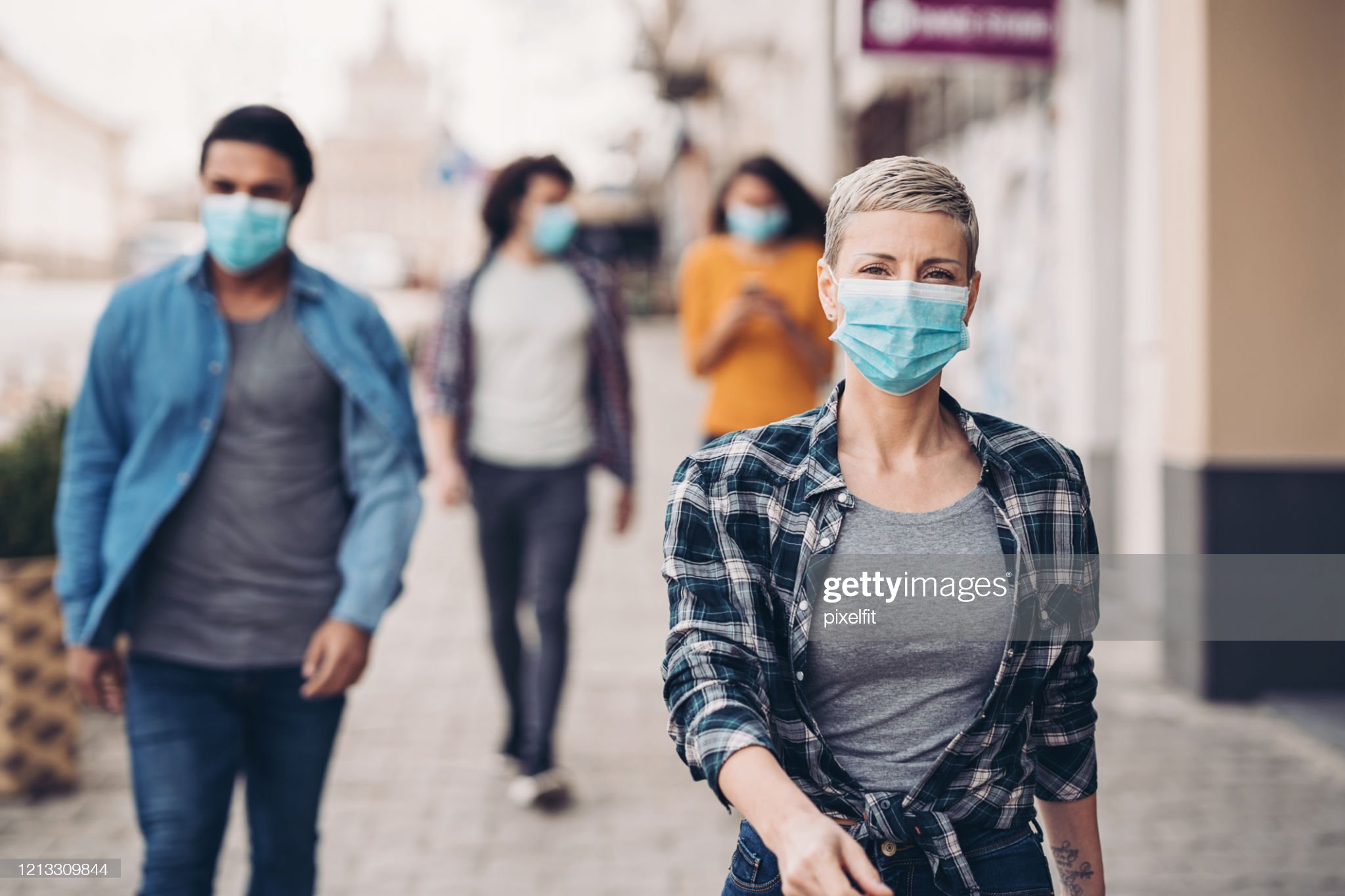 A day in the city during flu epidemic : Stock Photo