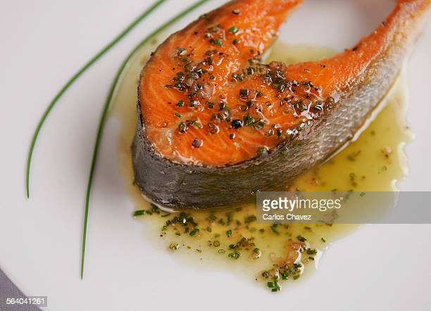 Day in the studio food Pan seared wild salmon stake with chives venaigritte