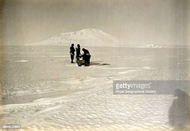 Day Nelson and Lashly and sledge on Barne Glacier Antarctica 21st February 1911 British Antarctic Expedition 19101913
