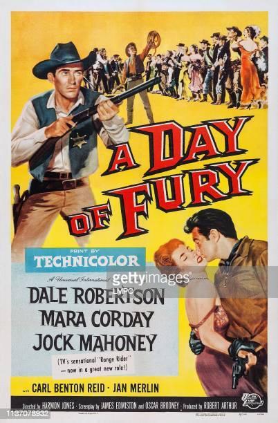 Jock Mahoney bottom lr Mara Corday Dale Robertson on poster art 1956