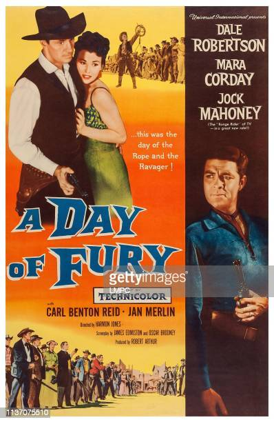 A Day Of Fury poster US poster art from top left Jock Mahoney Mara Corday Dale Robertson 1956