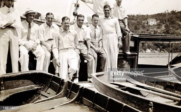 A day of recreation during the Bodyline series for a group of the MCC England players preparing for a boat trip in Sydney circa November 1932...