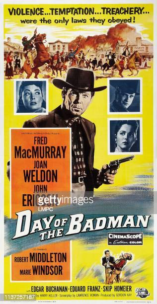 Day Of The Badman poster clockwise from left Marie Windsor Fred MacMurray John Ericson Joan Weldon 1958