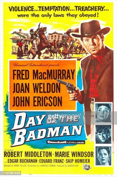Day Of The Badman poster US poster from top Fred MacMurray Marie Windsor John Ericson Joan Weldon 1958