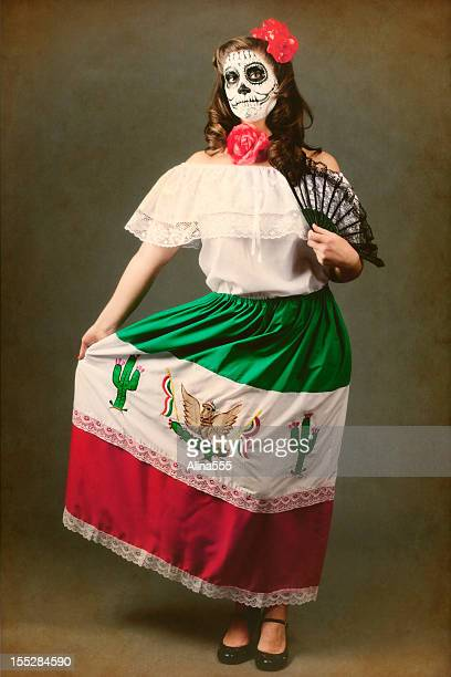 Day of the Dead: aged image, traditional clothes and makeup