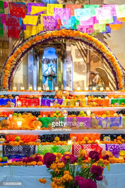 a day of the dead altar in oaxaca - altar stock pictures, royalty-free photos & images