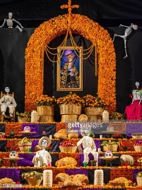 a day of the dead altar in oaxaca - day of the dead stock pictures, royalty-free photos & images
