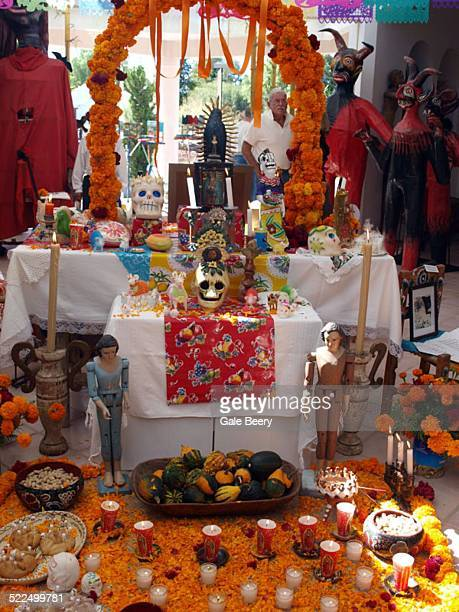 Day of the Dead Altar San Miguel de Allende Mexico Altar with favorite things And photo of the deceased