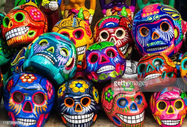 day of the dead in oaxaca - sugar skull stock photos and pictures