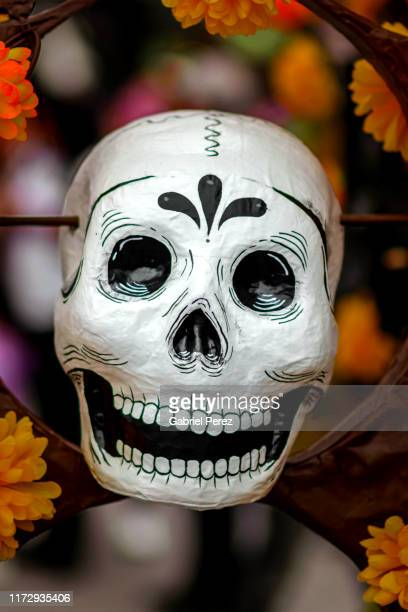 a day of the dead papier-mâché skull - sugar skull stock photos and pictures