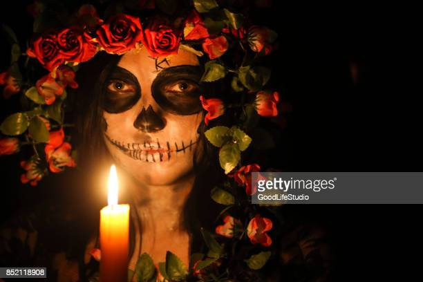 dia de los muertos - sugar skull stock photos and pictures