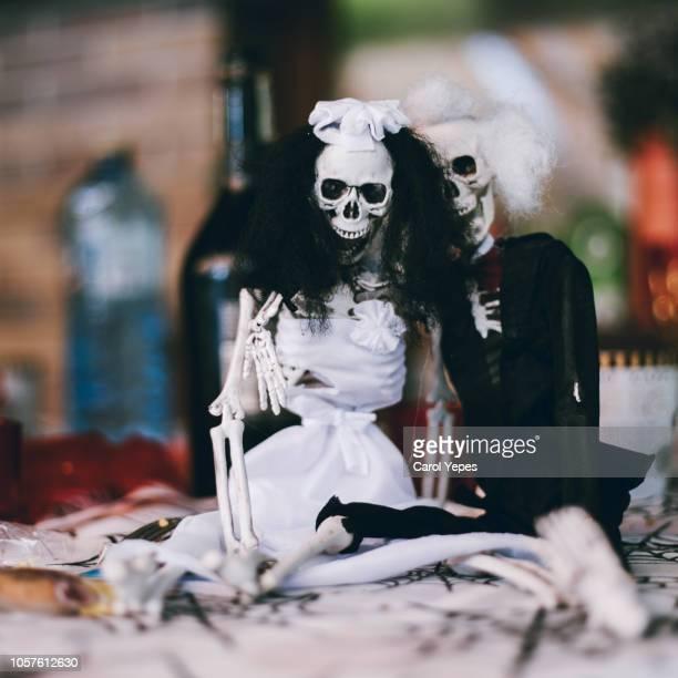 day of the dead skeleton couple - day of the dead fotografías e imágenes de stock