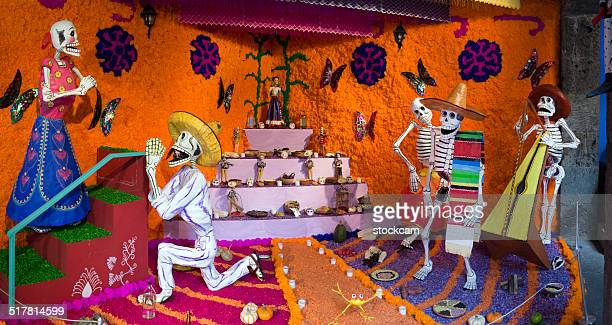 day of the dead skeletons in mexico - all souls day stock photos and pictures