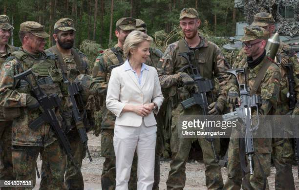 Day of the Federal Army in the General Field Marshal Rommel barracks in Augustdorf Federal Defense Minister Ursula von der Leyen in conversation with...