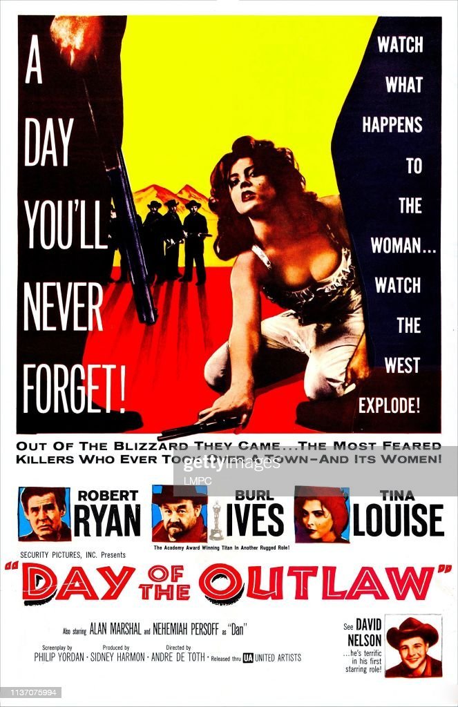 Day Of The Outlaw, poster, US poster, Tina Louise , center