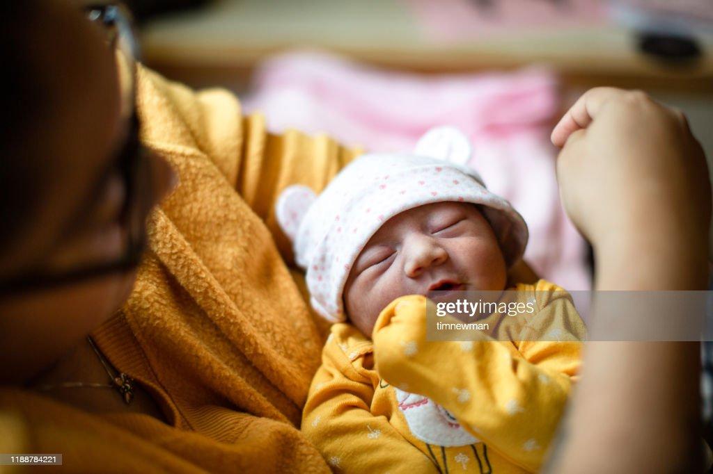 Day old Newborn Hispanic baby : Stock Photo