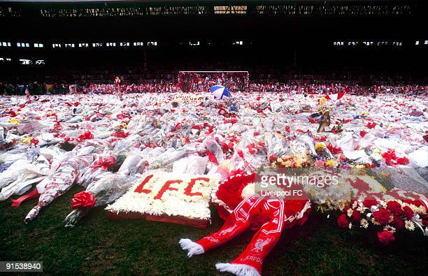 A day or so after the dreadful tragedy floral tributes fill the Spion Kop stand and spill over onto the Anfield turf laid in memory of the 96 people...