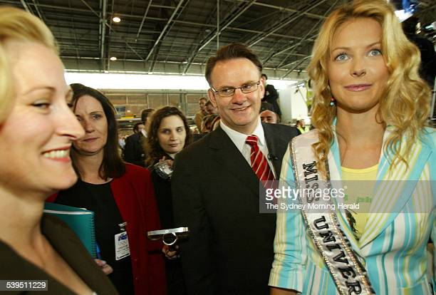 Day three of the federal election campaign. Opposition Leader Mark Latham with wife Janine Lacy meeting Miss Universe Jennifer Hawkins during the...