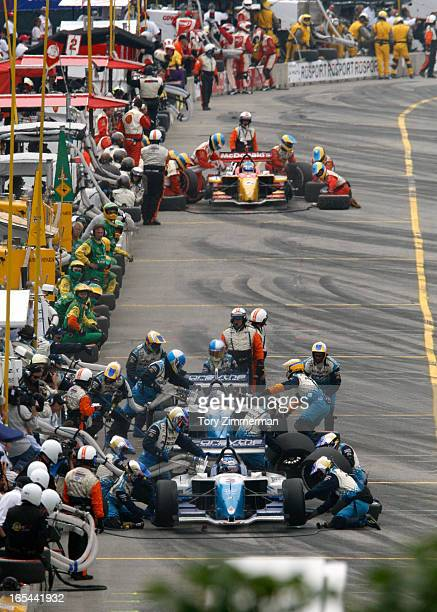 Day three of the Molson Grand Prix of Toronto. The winner was A.J. Allmendinger. IN THIS PIC: the final pit stop for racers 1 and 3. In the front,...