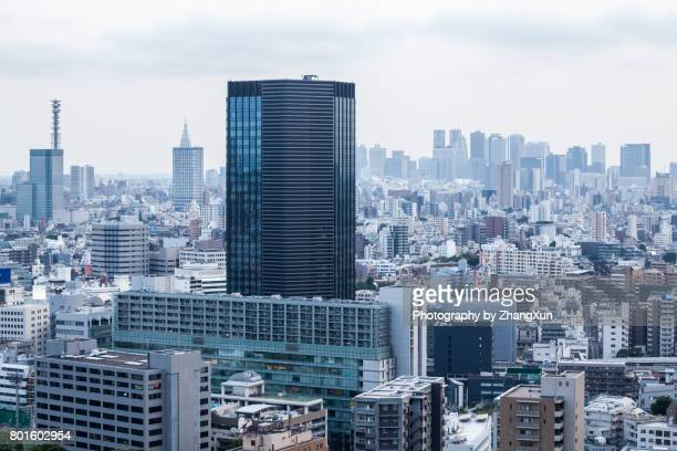 Day time over Shinjuku business, shopping and entertainment district aerial view Tokyo, Japan.