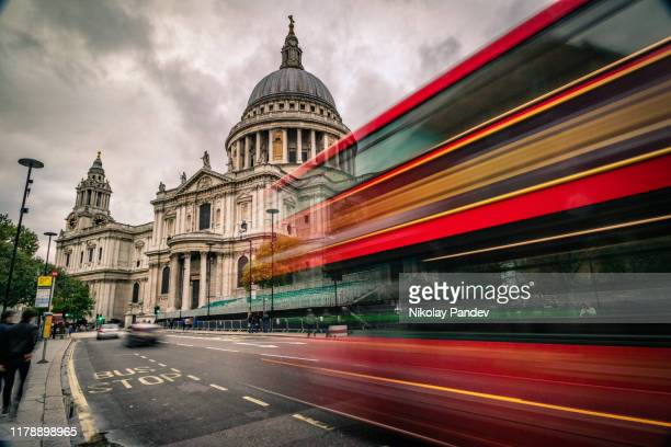 day time view of saint paul's cathedral in london city - creative stock image - central london stock pictures, royalty-free photos & images