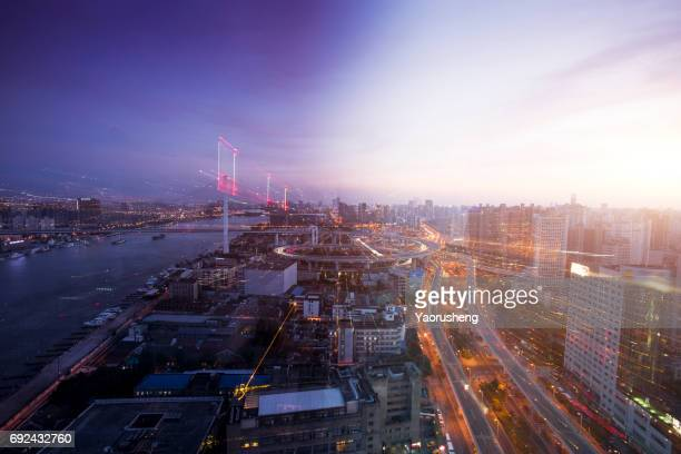 Day to night timelapse timeslice panorama of Shanghai downtown:Nanpu Bridge