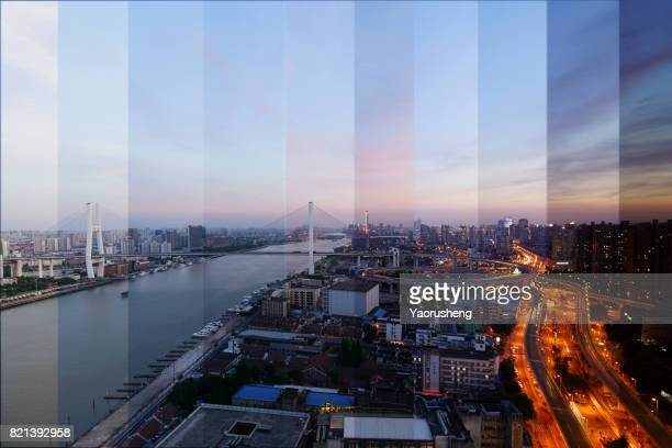 day to night timelapse timeslice panorama of shanghai downtown:nanpu bridge - día fotografías e imágenes de stock