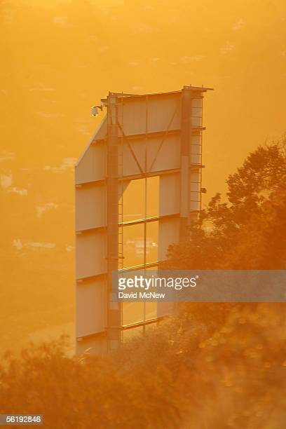 Day turns to night at the letter D of the Hollywood Sign on November 16 2005 in Los Angeles California The historic landmark is undergoing a...