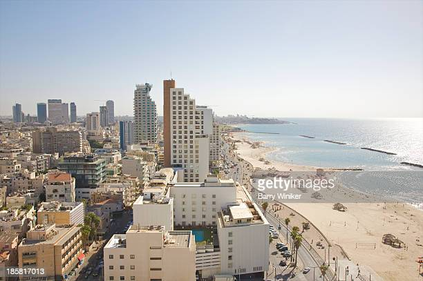 Day view of Tel Aviv city and beach