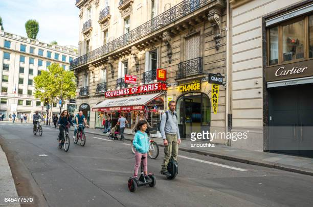 day without cars in paris, france - segway stock pictures, royalty-free photos & images