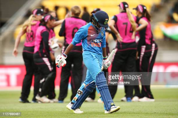 Dayalan Hemalatha of India leaves the field after being dismissed during game one of the International T20 Series between the New Zealand White Ferns...