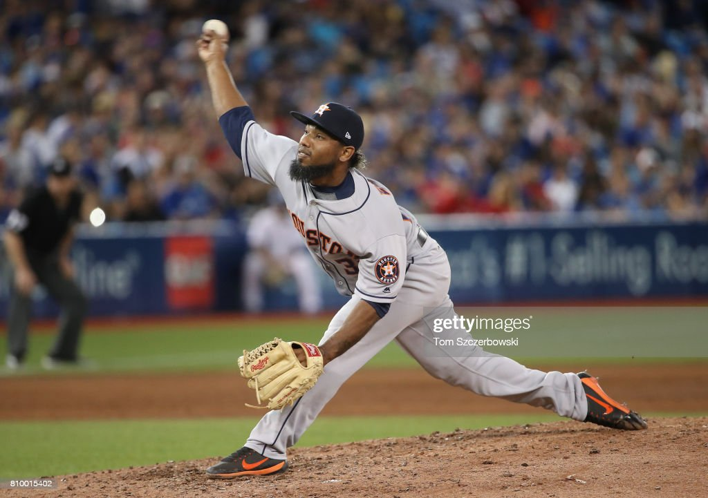 Dayan Diaz #38 of the Houston Astros delivers a pitch in the sixth inning during MLB game action against the Toronto Blue Jays at Rogers Centre on July 6, 2017 in Toronto, Canada.