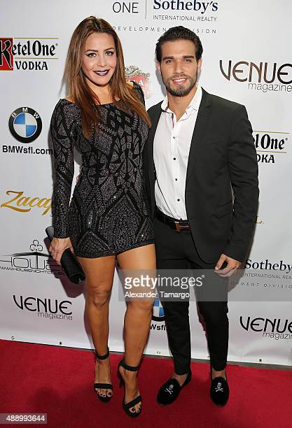 Dayana Garroz and Darian Alvarez arrive at the Venue Magazine 9 year anniversary party at House Nightclub on September 18 2015 in Miami Florida