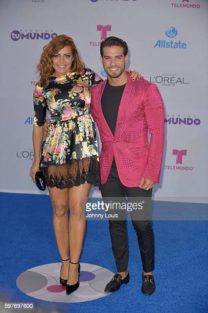 Dayana Garroz and Guest arrives at Telemundo's Premios Tu Mundo 'Your World' Awards at American Airlines Arena on August 25 2016 in Miami Florida