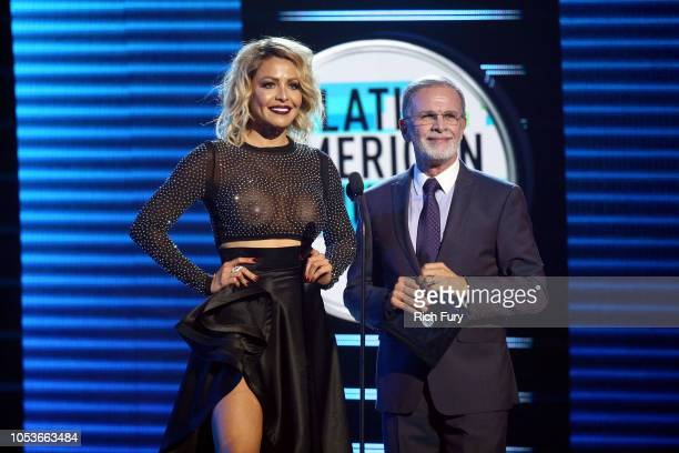 Dayana Garroz and Tony Plana speak onstage during the 2018 Latin American Music Awards at Dolby Theatre on October 25 2018 in Hollywood California