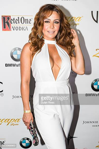 Dayana Garroz attends Venue Magazine's May/June 2016 Cover Party With Jencarlos Canela at The Deck Island Gardens on May 21 2016 in Miami Florida