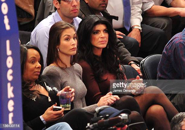Dayana Mendoza and Theresa Guidice attend the Charlotte Bobcats vs the New York Knicks game at Madison Square Garden on January 4 2012 in New York...