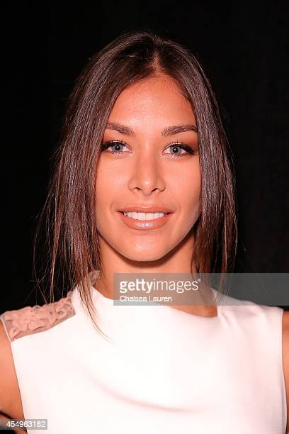 Dayana Mendoza backstage at the Angel Sanchez fashion show during MercedesBenz Fashion Week Spring 2015 at The Pavilion at Lincoln Center on...